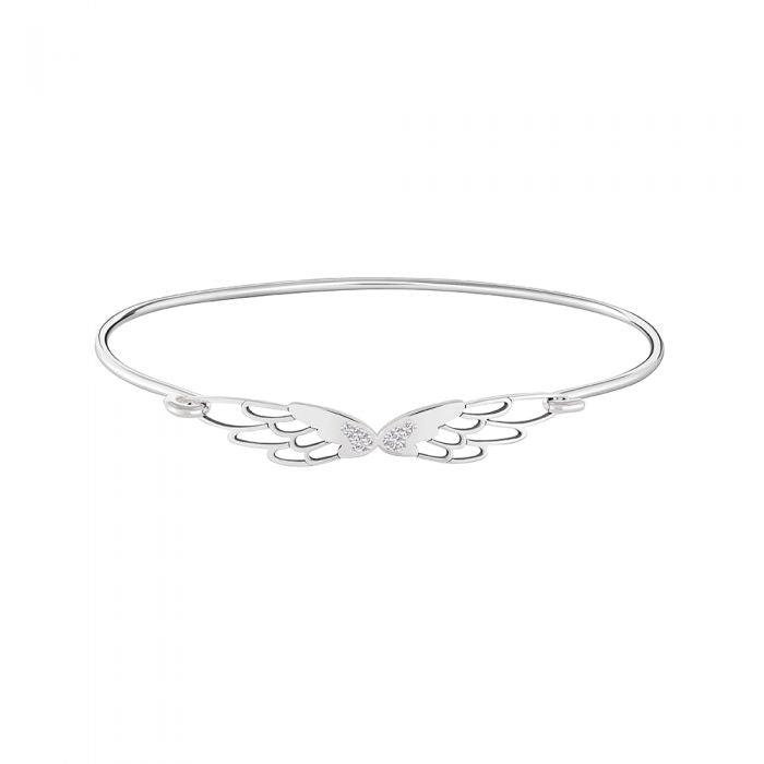 Pave' Wings Id Bangle - White Pure Brilliance Swarovski Zirconia