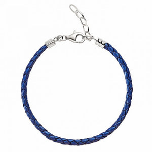 Blue Metallic Braided Leather Bracelet