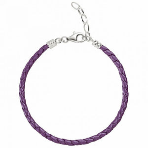 Purple Metallic Braided Leather Bracelet