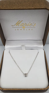 14K White Gold .20 Diamond Bezel Necklace