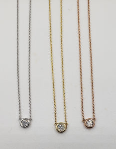 14K Yellow Gold .20 Diamond Bezel Necklace