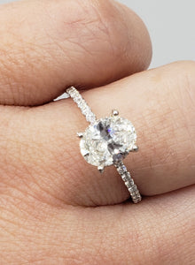 14k White Gold Oval Engagement Ring with Custom Setting