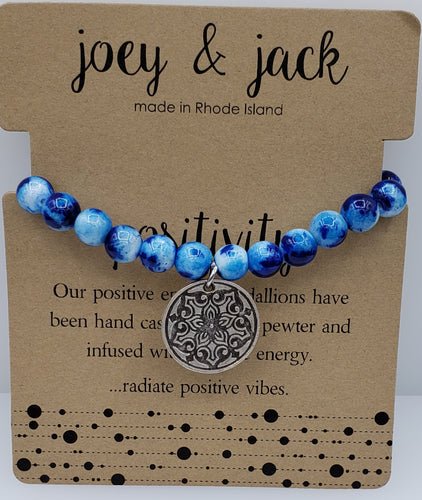 Blue Jade Positivity Medallion Bracelet