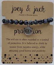 Load image into Gallery viewer, Snowflake Obsidian Evil Eye Bracelet
