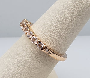 10K Rose Gold Morganite Band with 2 Diamonds