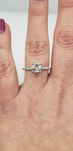14K White Gold Cushion Cut Engagement Ring with Diamond Encrusted Crown