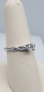 14K White Gold Round Diamond Infinity Engagement Ring