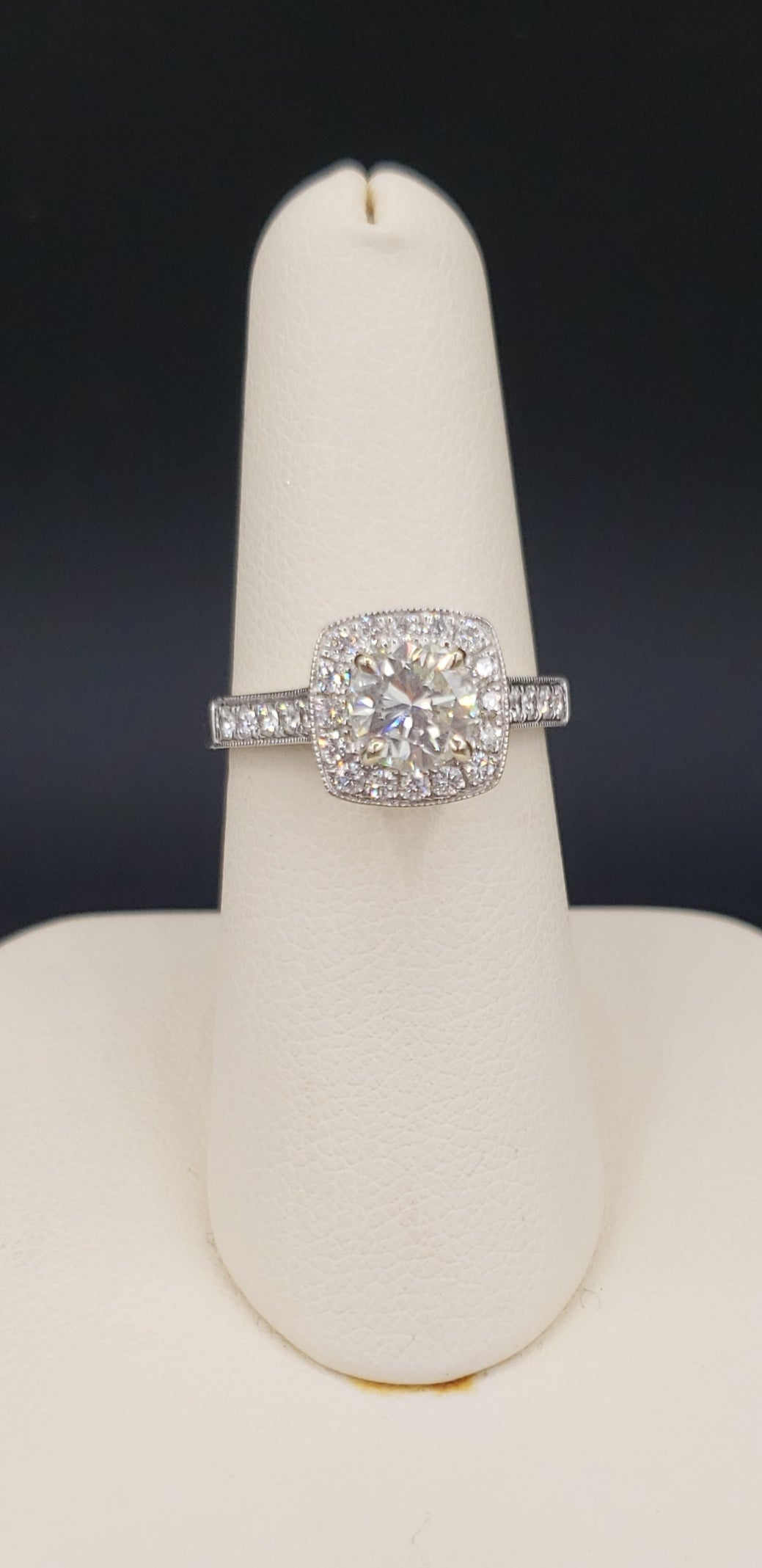 14K White Gold Brilliant Cut (Round) Diamond Engagement Ring with Diamond Halo