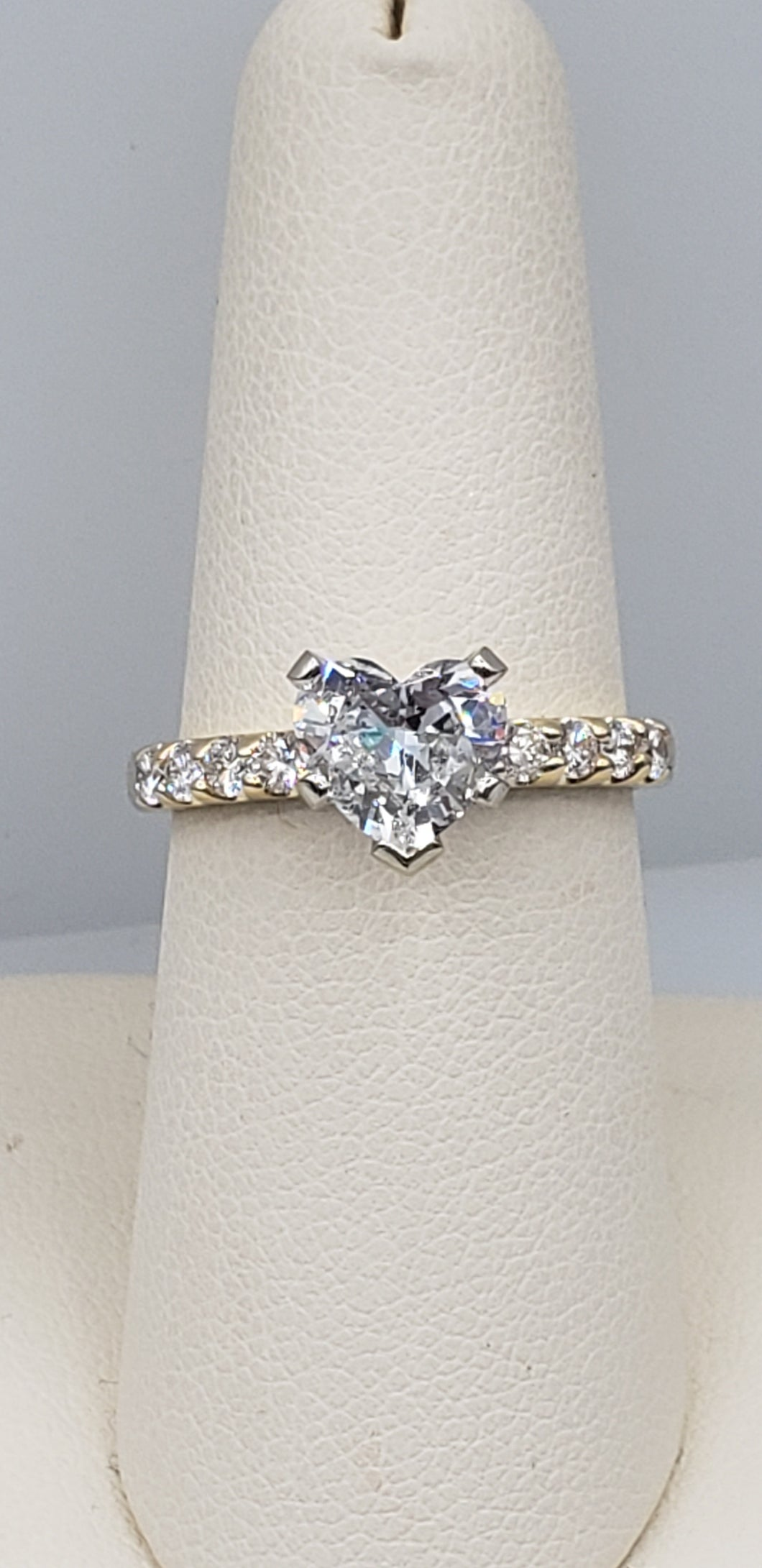 14K Yellow Gold Heart Shaped Diamond Engagement Ring