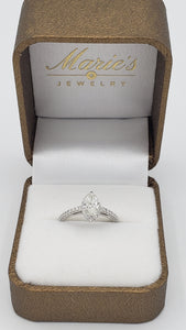 14K White Gold Marquise Diamond Engagement Ring with Diamond Halo