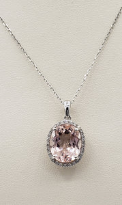 14K White Gold Morganite and Diamond Necklace