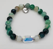 Load image into Gallery viewer, Stash Adrian with Swarovski Crystal and Green Agate Bracelet