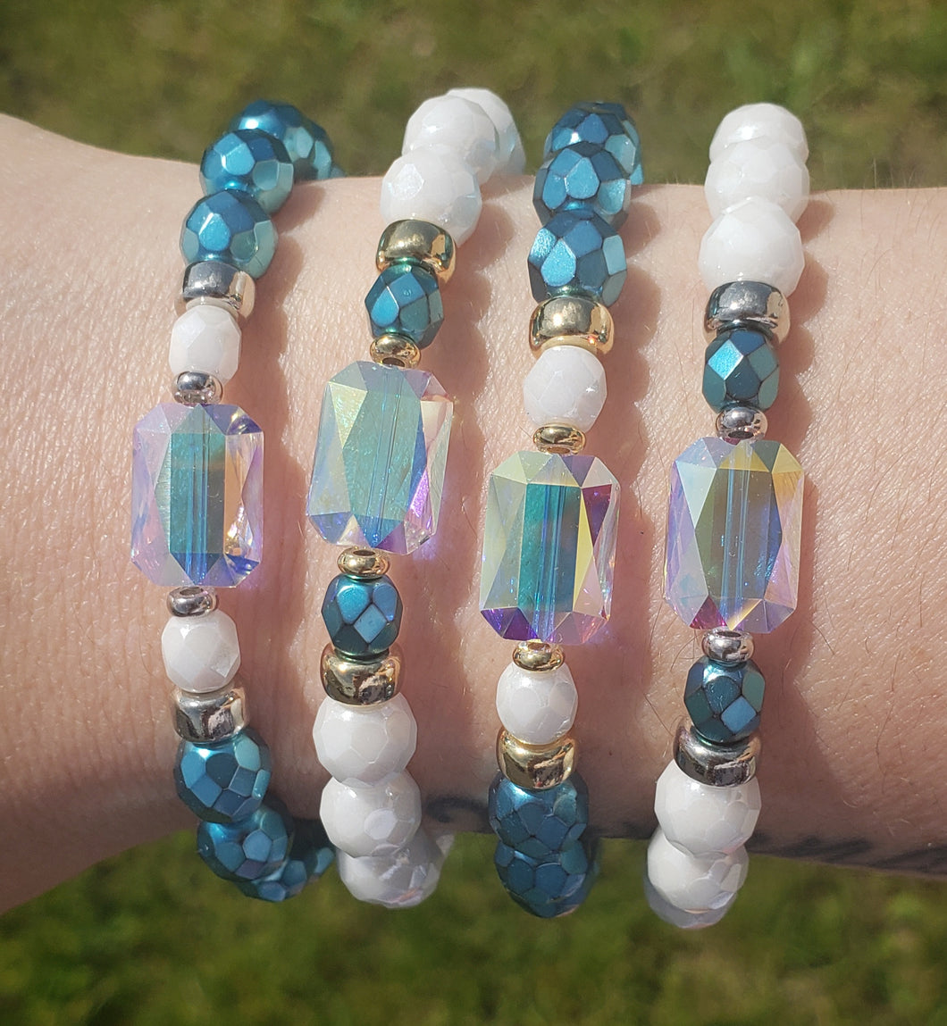 Stash & Marie's Jewelry Exclusive Teal & White Crystal AB Swarovski Bracelets