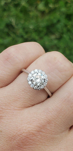 14K White Gold Diamond Engagement Ring with Diamond Halo and Plain Band