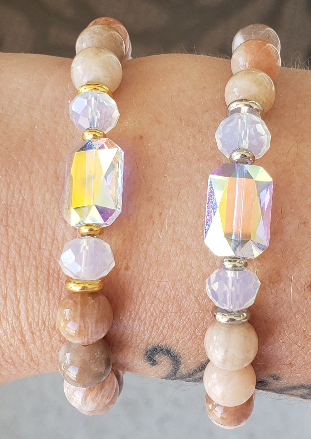 Stash Adrian with Swarovski Crystal and Sunstone Bracelet