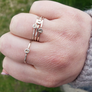 Initial Stacking Rings - Silver