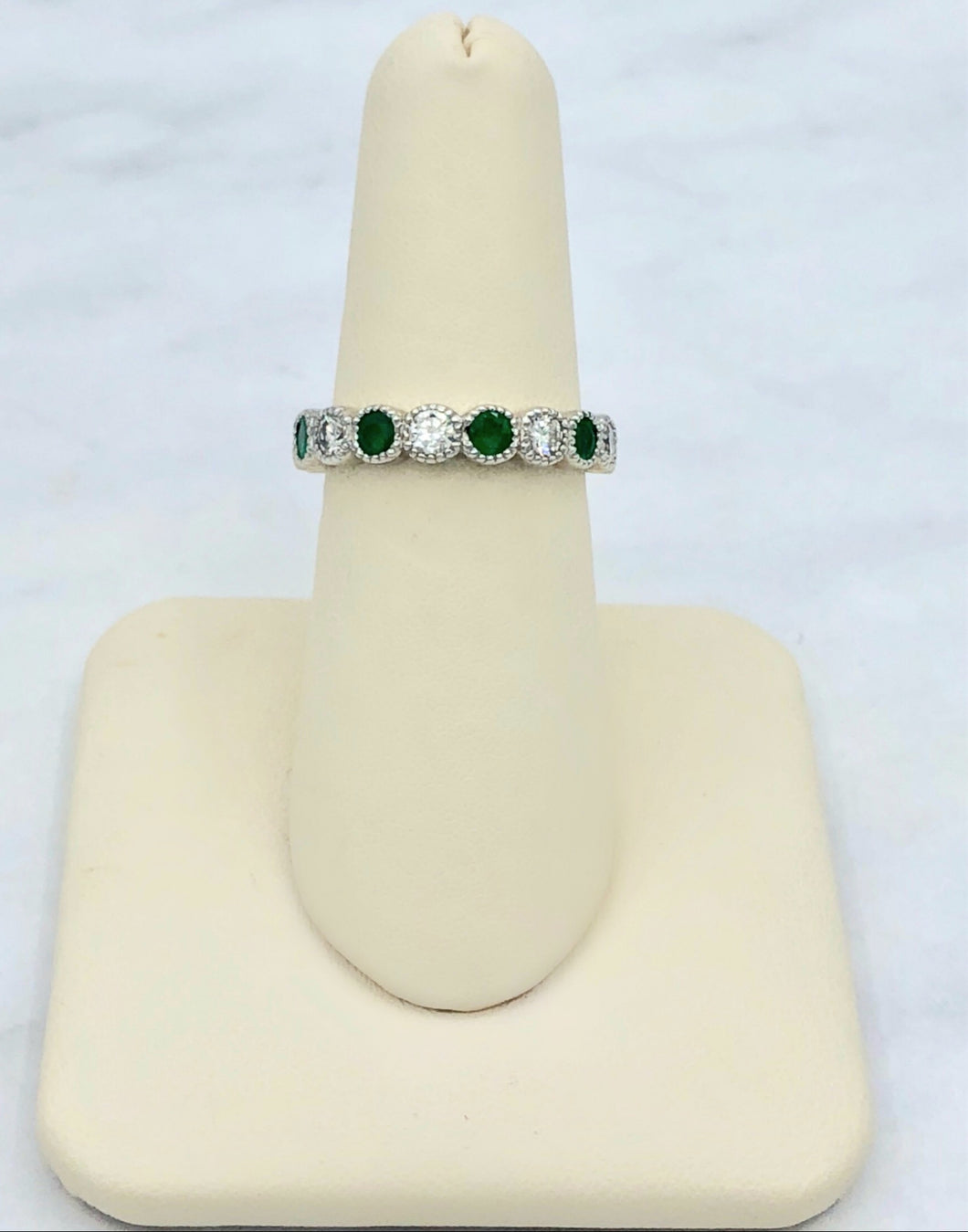 Viv & G 14K White Gold Emerald and Diamond Band