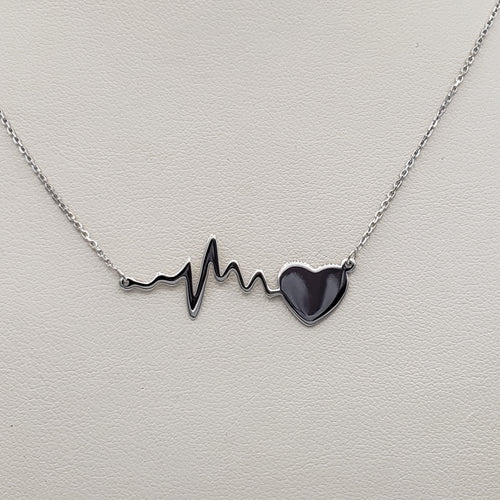Adjustable Life Line Heart Beat Necklace