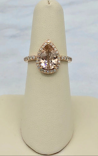 14K Rose Gold Pear Shaped Morganite and Diamond Ring