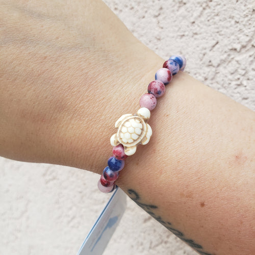 Red, White and Blue Sea Turtle Bracelet