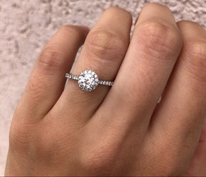 14K White Gold .54 Carat Diamond Engagement Ring with Diamond Halo