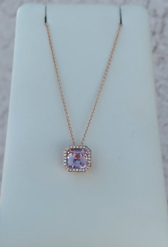 14K Rose Gold & Lab Created Morganite Necklace