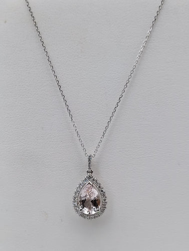 14k White Gold Morganite & Diamond Necklace