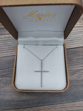Load image into Gallery viewer, 14K White Gold Diamond Cross Necklace