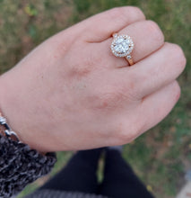 Load image into Gallery viewer, 14K Rose Gold Cluster Engagement Ring