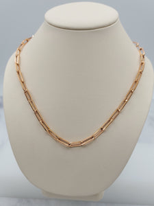 "14K 18"" Rose Gold Paperclip necklace"