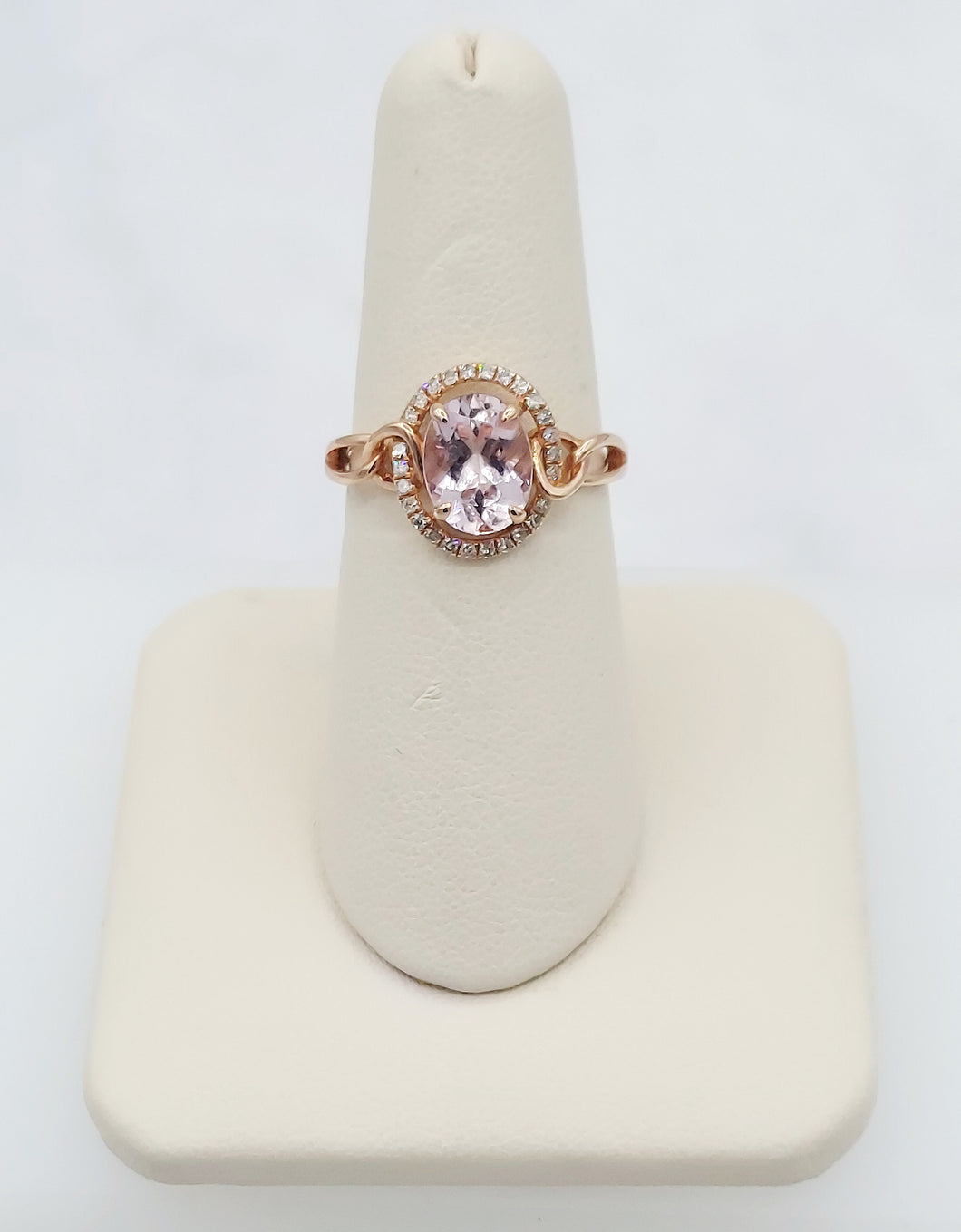 14K Rose Gold Oval Shaped Morganite and Diamond Ring