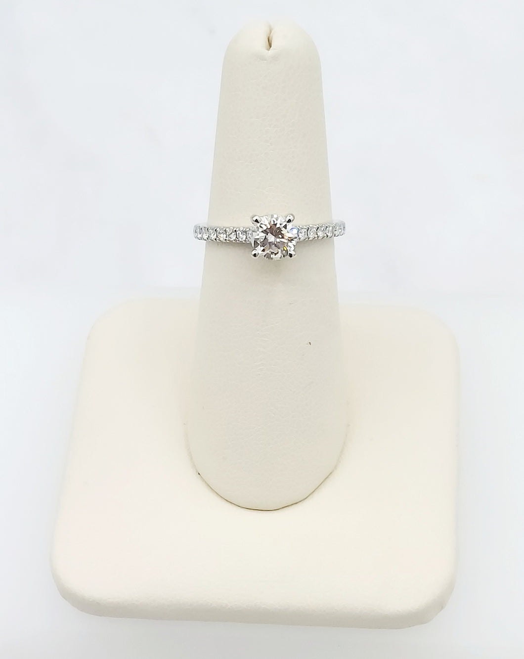 14K White Gold Brilliant Round Engagement Ring with Diamonds on the Band and Hiden Diamond Halo