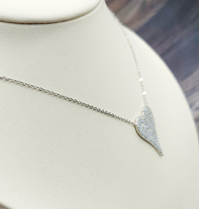 Sterling Silver Pave Crystal Heart Necklace