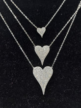Load image into Gallery viewer, Sterling Silver Pave Crystal Heart Necklace