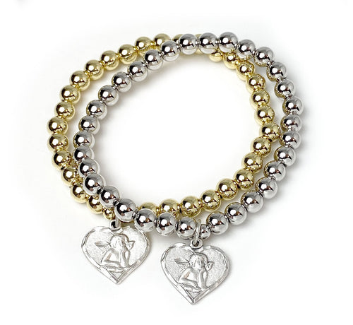 The Sweetest Protection Heart Cherub Charm Bracelet