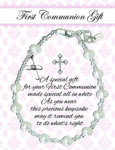 Sterling Silver First Communion Rosary Bracelet