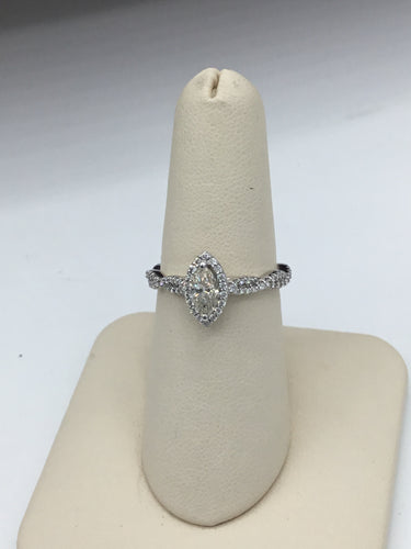 14K White Gold Marquise Diamond Engagement Ring with Diamond Halo and braided band