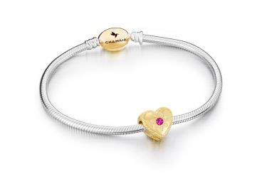 SUNNY HEART BRACELET GIFT SET - Fuchsia Swarovski Crystal, Oval Snap with Gold Electroplating