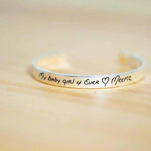 Silver Cuff Bracelet - Custom Handwriting