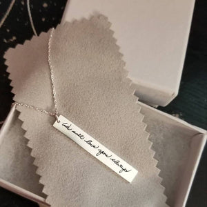 Vertical Bar Necklace - Custom Handwriting