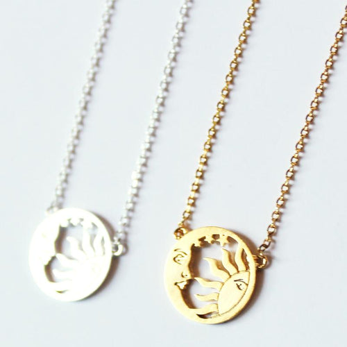Sun and Moon Disc Necklace