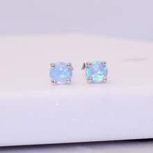 Load image into Gallery viewer, Sterling Silver Powder Blue Opal Stud Earrings