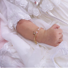 Load image into Gallery viewer, Lauren - 14K Gold-Plated Pink Pearl Cross Bracelet