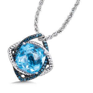 Sterling Silver Blue Topaz and Diamond Pendant