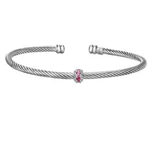Philip Gavriel Silver Italian Cable Stackable Bangle with Pink topaz