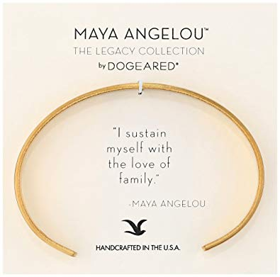 Dogeared Maya Angelou I Sustain Myself. Thin Engraved Cuff Bracelet