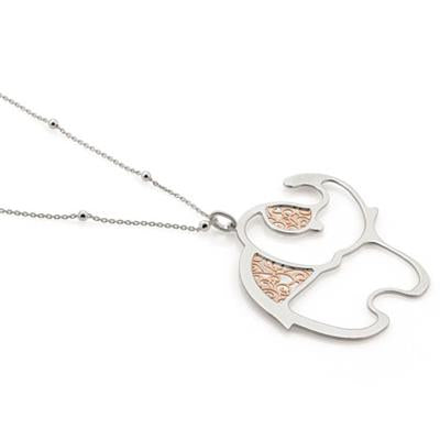 Rose Gold and Silver Elephant Necklace