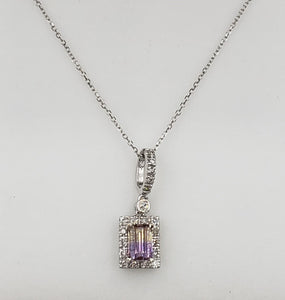 14K White Gold Diamond And Ametrine Necklace