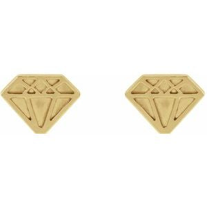 14K Yellow Gold Tiny Diamond Earrings