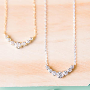 Circle CZ Crescent Necklace